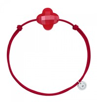 Morganne Bello Morganne Bello cord bracelet Quartz clover stone red
