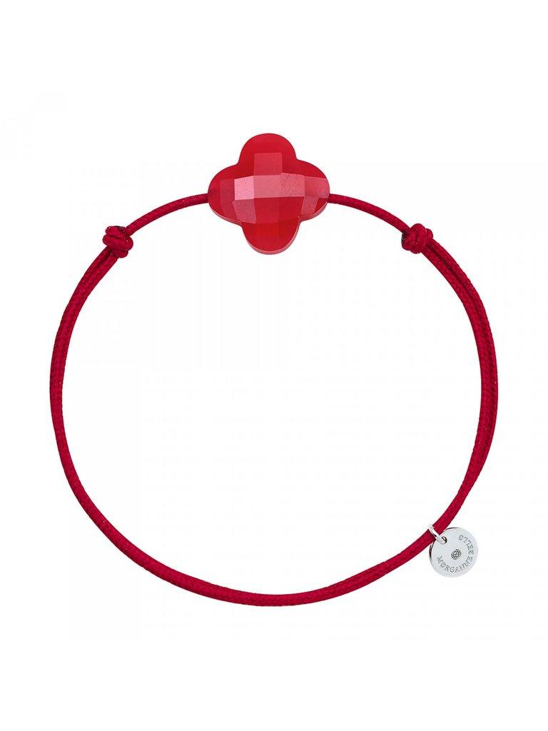 Morganne Bello Morganne Bello cord bracelet Quartz clover stone red