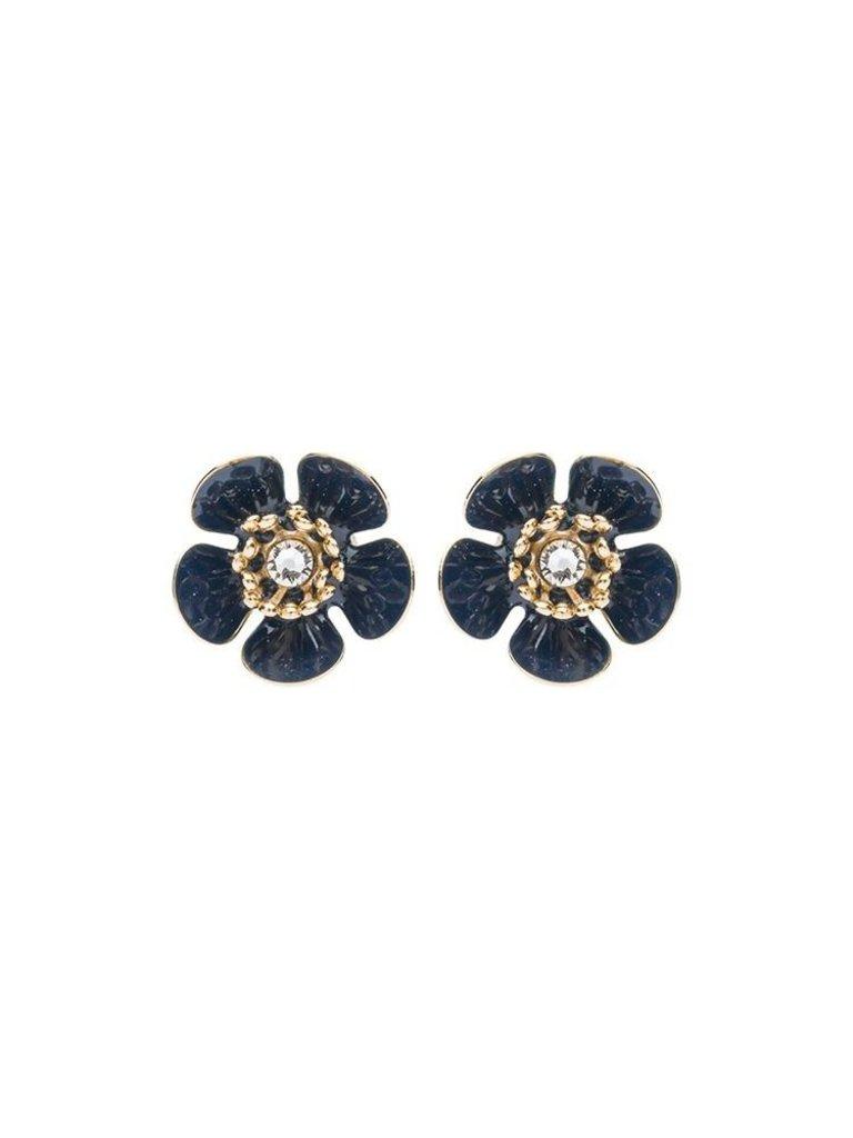 Souvenirs de Pomme Souvenirs de Pomme Gina mini shortie oorbellen goud zwart