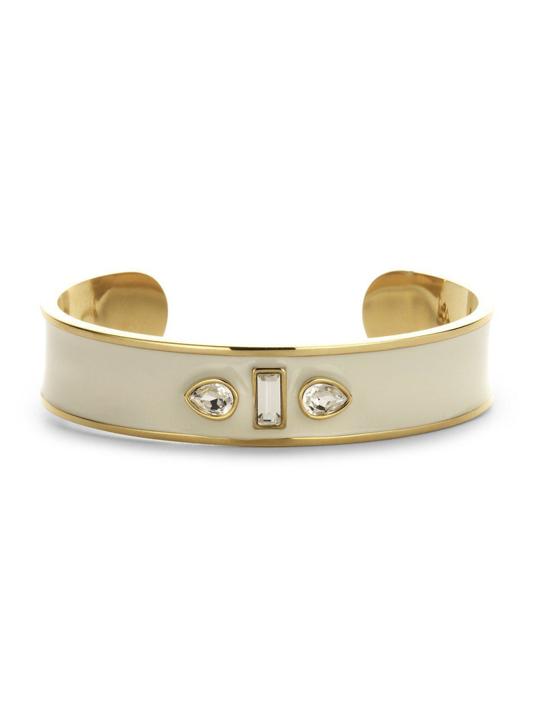Souvenirs de Pomme Souvenirs de Pomme Sophia Manschette Emaille Armband Gold Ecru