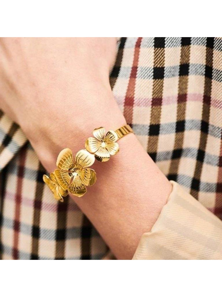 Souvenirs de Pomme Souvenirs de Pomme Floral cuff bracelet gold