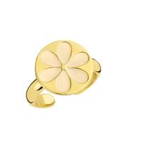 Souvenirs de Pomme Souvenirs de Pomme Enamel flower ring nude gold