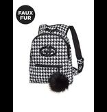 Goldbergh Goldbergh Handy Rucksack Pied de Poule Print schwarz und weiß
