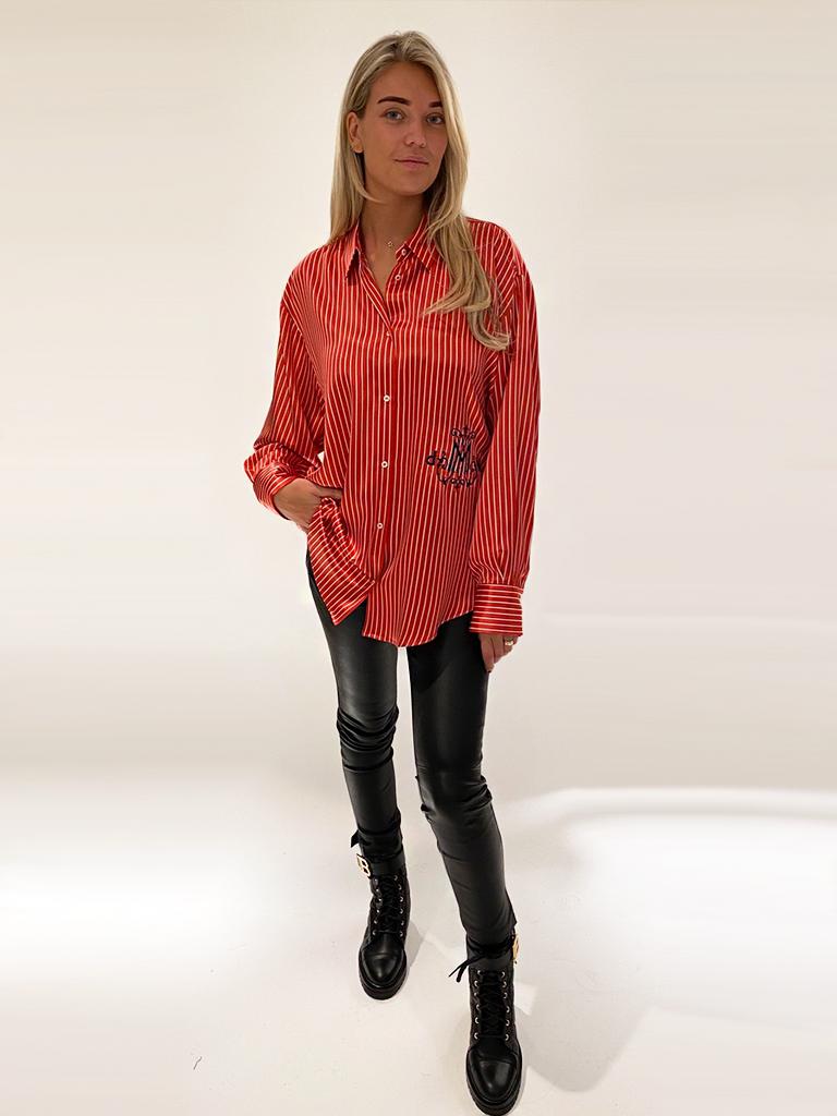 DMN Paris DMN Paris Chloe gestreepte zijde blouse rood