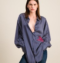 DMN Paris DMN Paris Chloe striped silk blouse dark blue