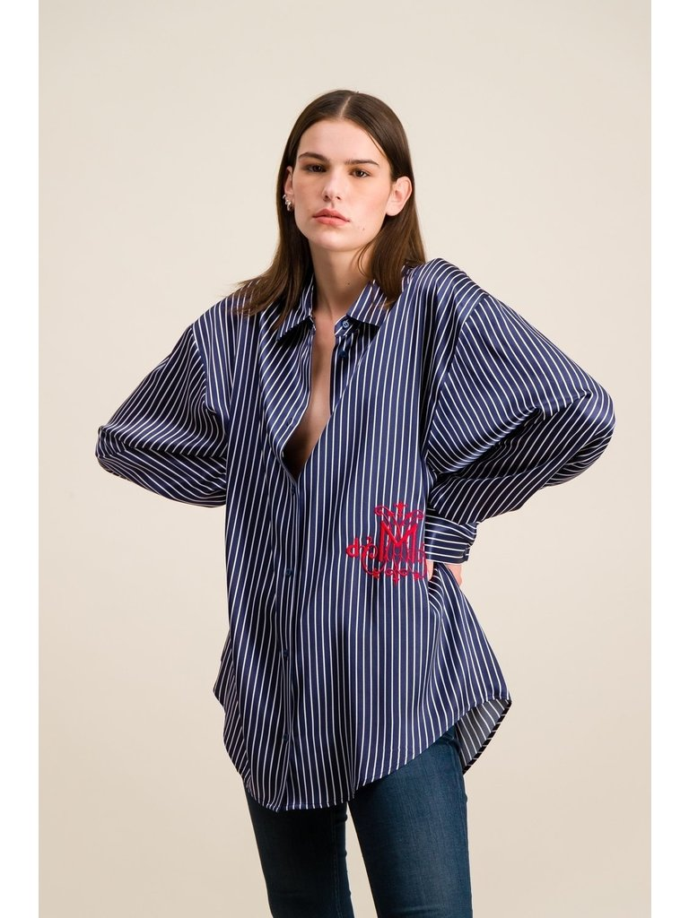 DMN Paris DMN Paris Chloe gestreepte zijde blouse donkerblauw