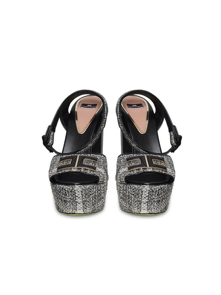 Elisabetta Franchi Elisabetta Franchi platform hakken met tweed stof zwart