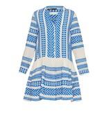Devotion Devotion Mirah dress with print and volant blue white