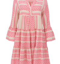 Devotion Devotion Zakar dress with print and volant pink white