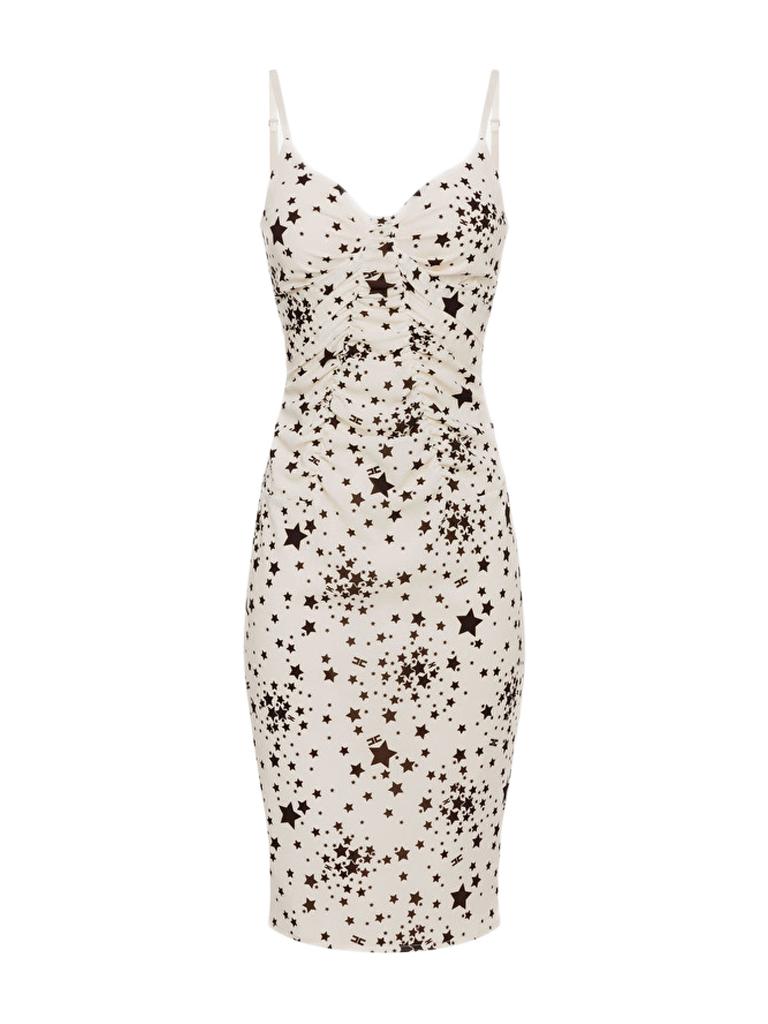 Elisabetta Franchi Elisabetta Franchi jurk met sterrenprint en kant wit