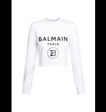 Balmain Balmain Cropped sweater with logo print white