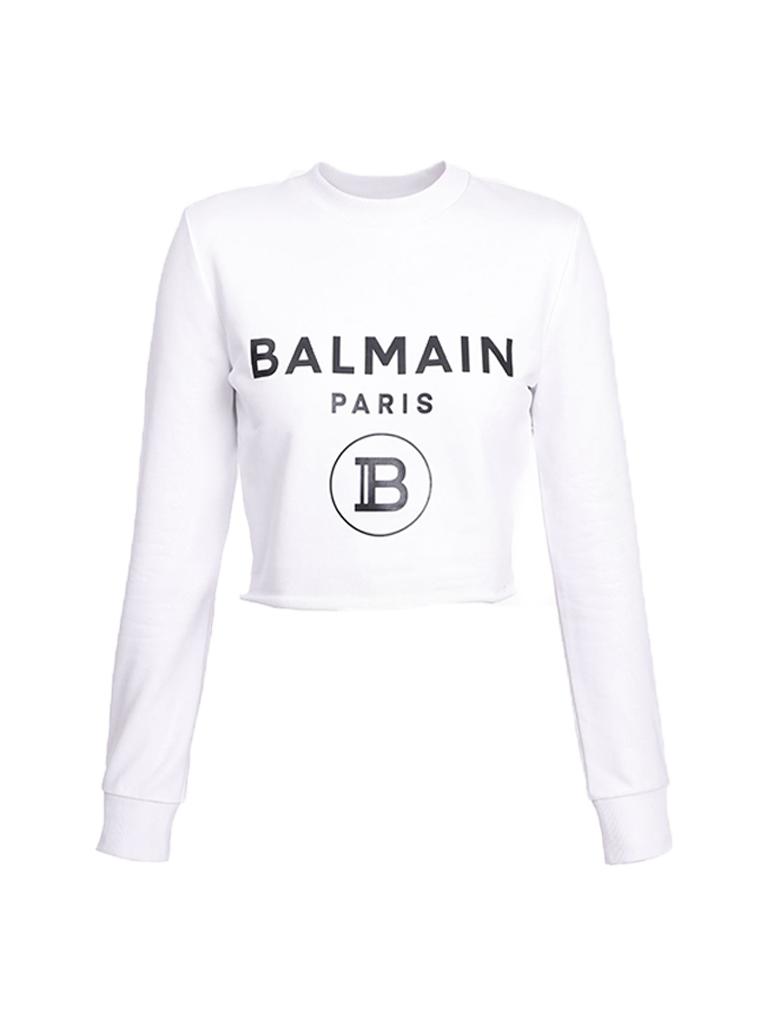 Balmain Balmain Cropped sweater met logoprint wit