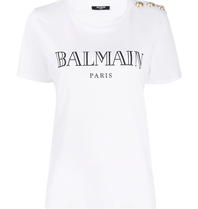 Balmain Balmain T-shirt met logo en goudkleurige knopen wit