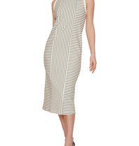 Erika Cavallini Erika Cavallini gestreepte maxi jurk met knoop wit blauw