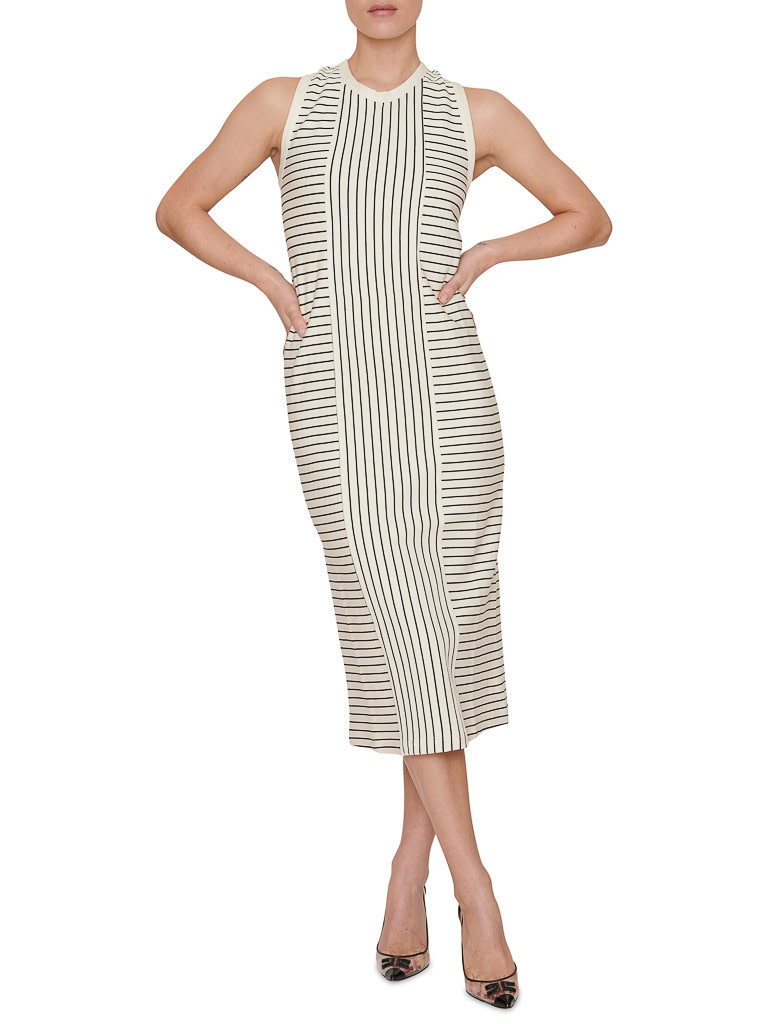 Erika Cavallini Erika Cavallini striped maxi dress with button white blue