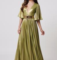 Forever Unique Forever Unique Misse metallic maxi dress with lime belt