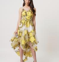 Forever Unique Forever Unique Paris asymmetrical midi dress with floral print yellow