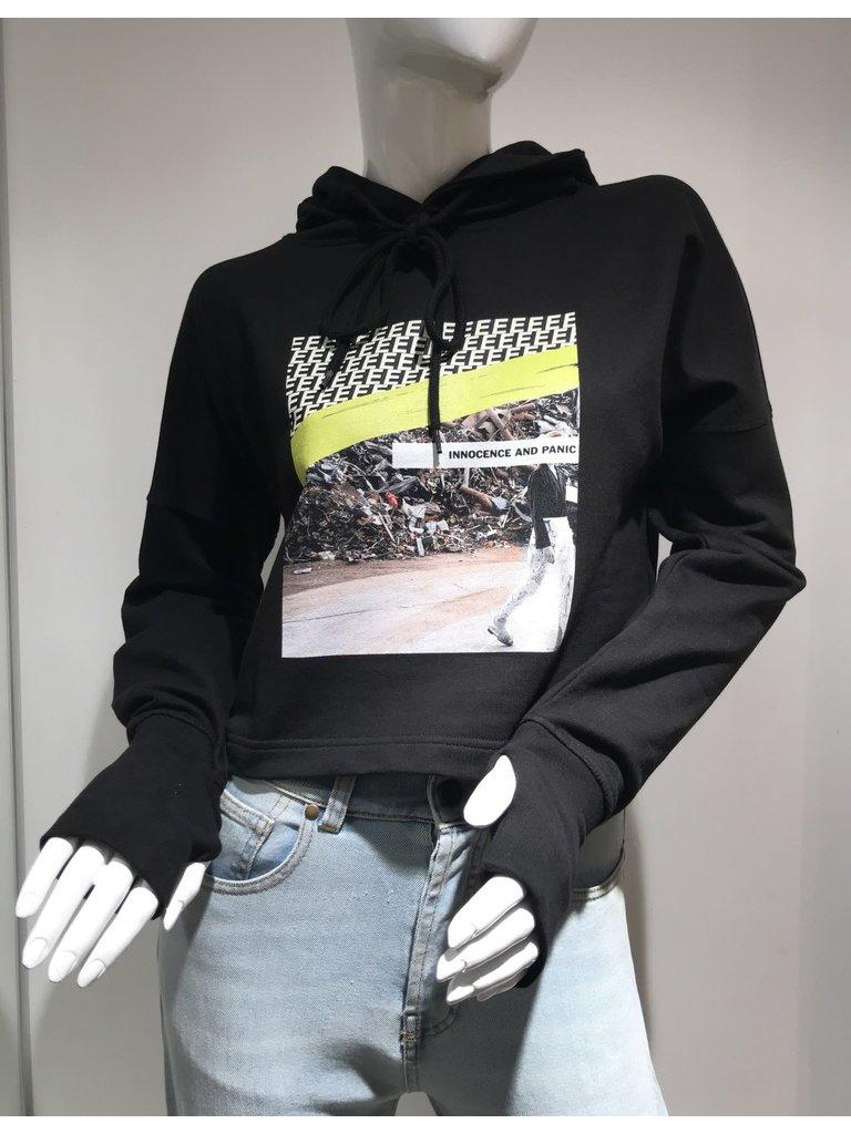 Erika Cavallini Erika Cavallini cropped sweater with print black