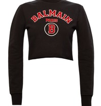 Balmain Balmain Cropped sweater with logo black red