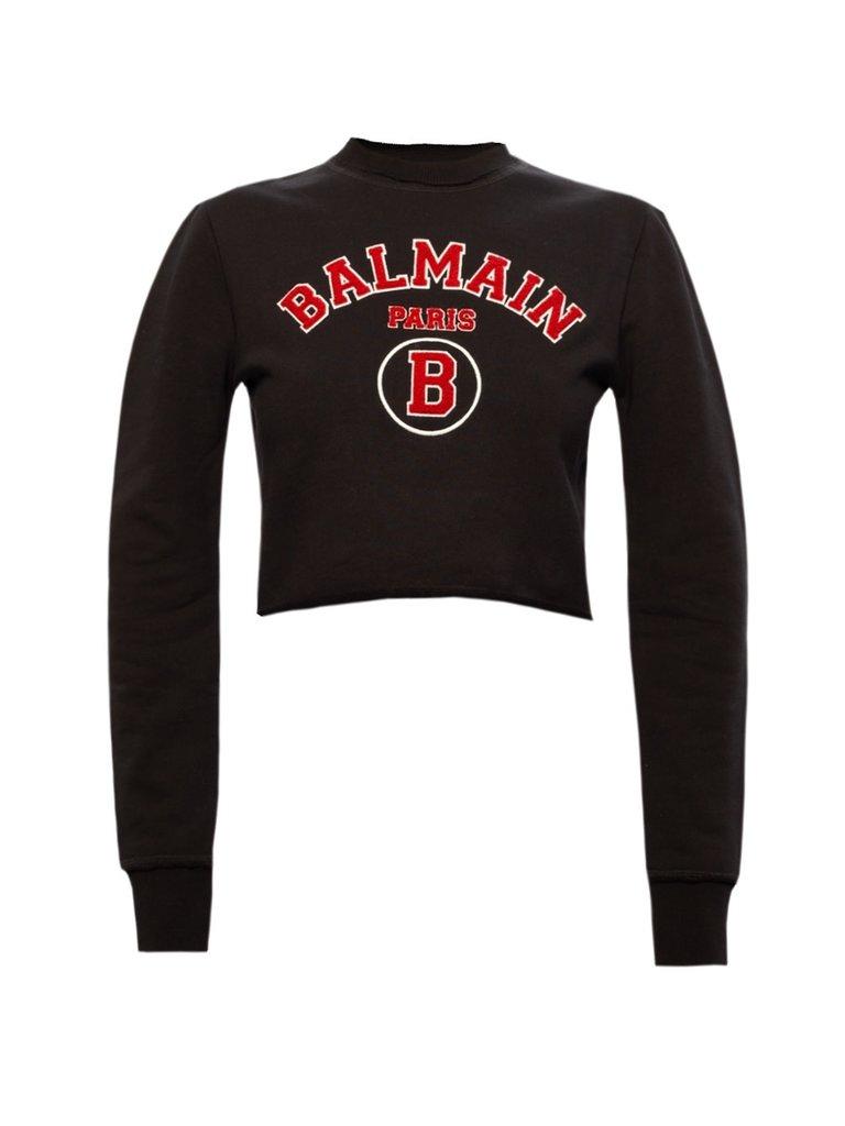 Balmain Balmain Cropped sweater met logo zwart rood