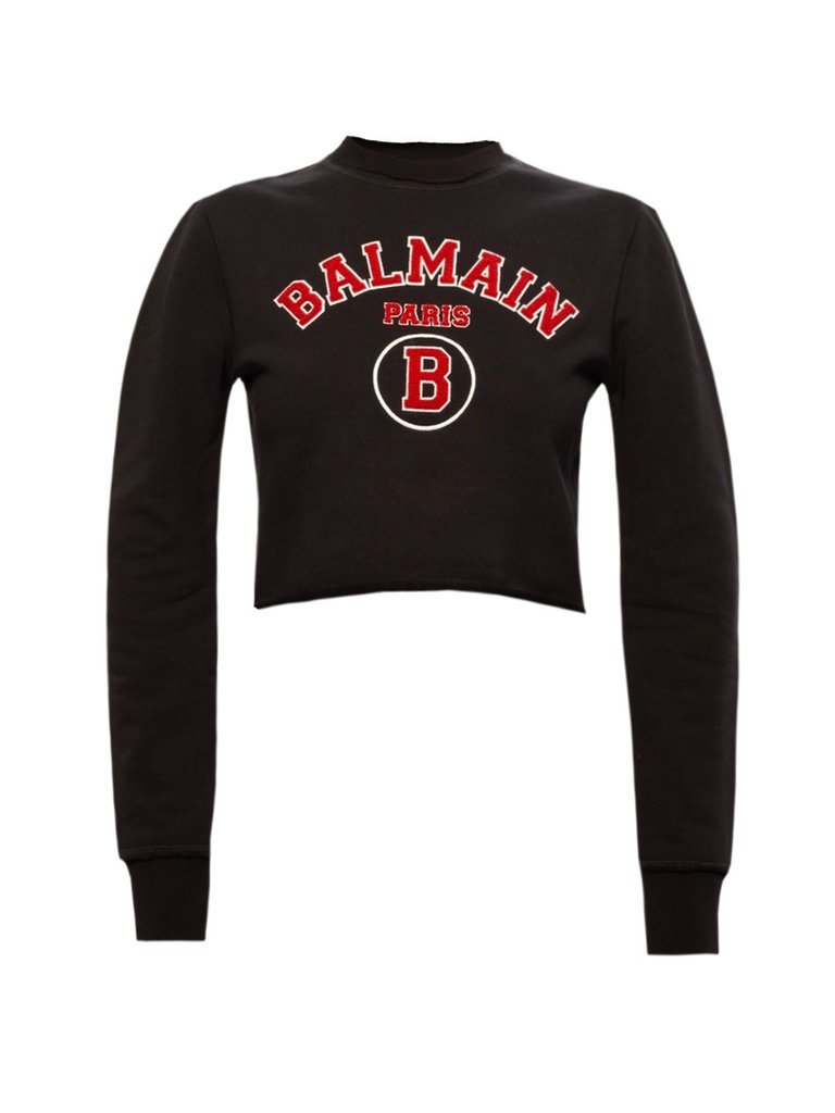 Balmain Balmain Cropped sweater with logo black red