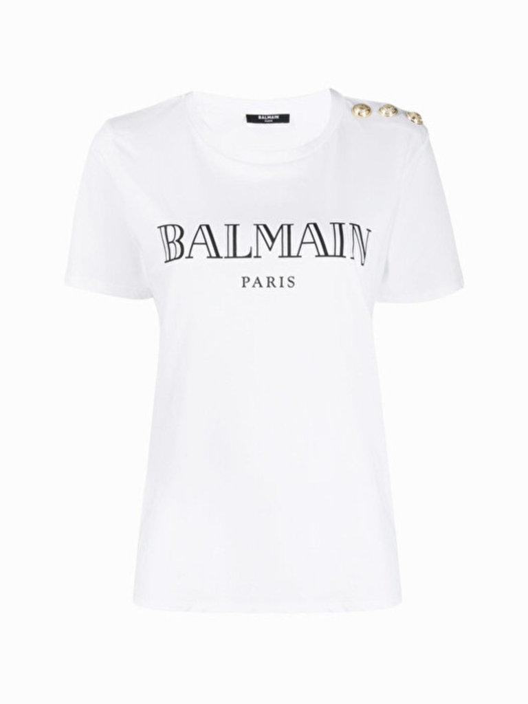Balmain Balmain T-shirt with logo print and gold-colored buttons white