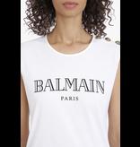 Balmain Balmain top with logo print and gold-colored buttons white