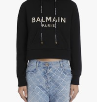 Balmain Balmain Cropped sweater with logo black gold