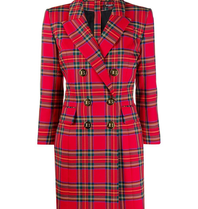 Balmain Balmain double-breasted checkered dress red