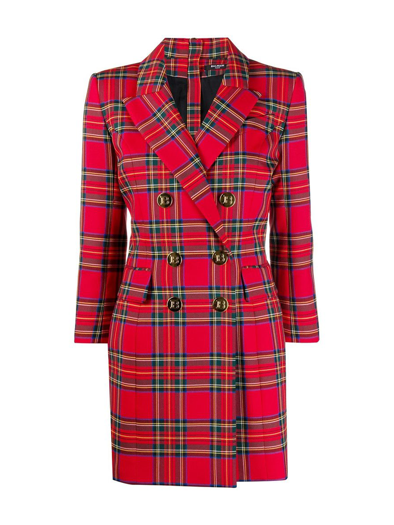 Balmain Balmain double-breasted checkered jurk rood