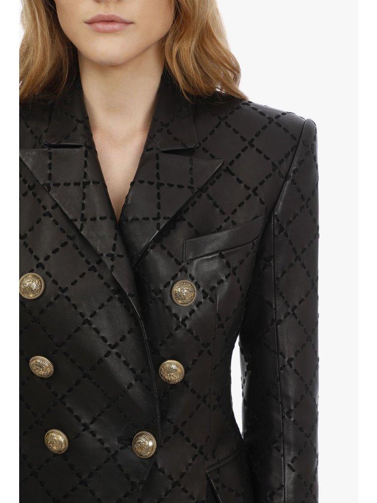 Balmain Balmain leren double-breasted blazer met stiksels zwart