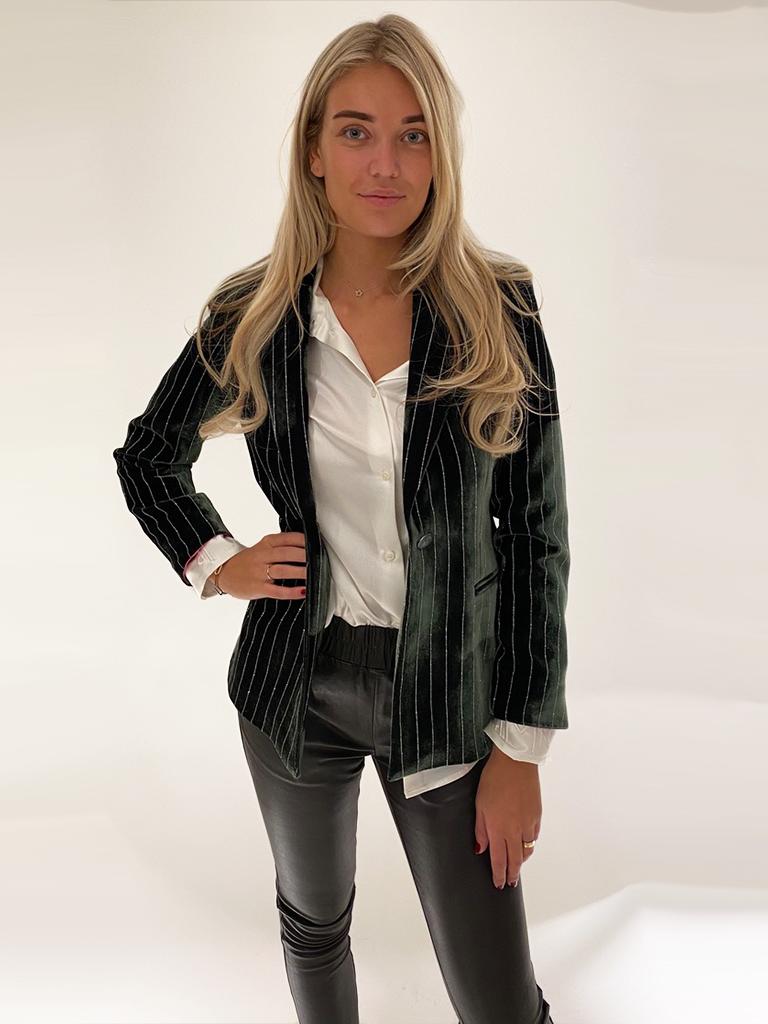DMN Paris DMN Paris Yaelle velvet blazer with green details