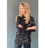 Est'seven Est'seven Paisley star print blouse met strik zwart