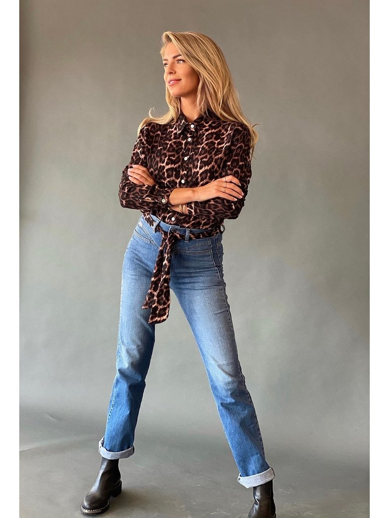 Est'seven Est'seven Leopard fall blouse met strik roze zwart