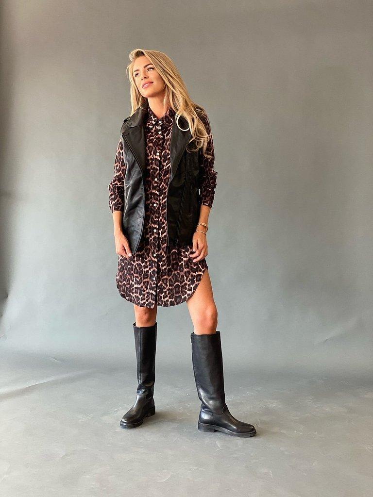 Est'seven Est'seven Leopard fall long blouse roze zwart
