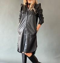 Est'seven Est'Seven Paris leather dress met ruffles zwart