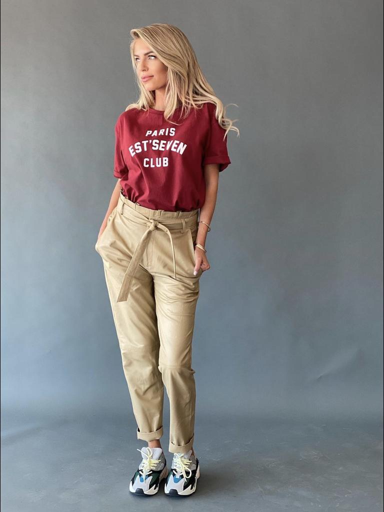 Est'seven Est'Seven leather ruffle pants cream
