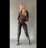 Est'seven Est'Seven leather ruffle pants brown