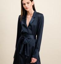 DMN Paris DMN Paris Paule zijde jurk donkerblauw