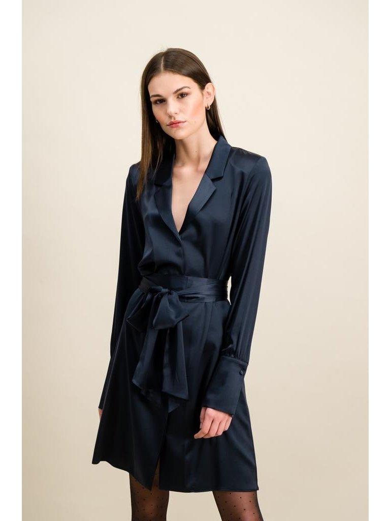 DMN Paris DMN Paris Paule silk dress dark blue