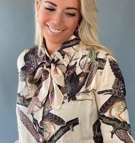 Est'seven Est'seven Rio blouse with bow owl print beige
