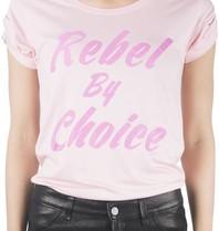 VLVT VLVT Rebel by choice t-shirt roze