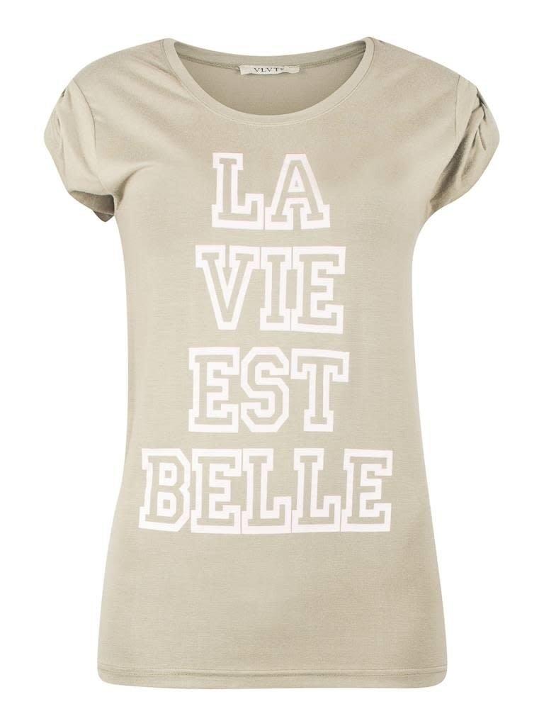 VLVT VLVT La vie est belle t-shirt groen
