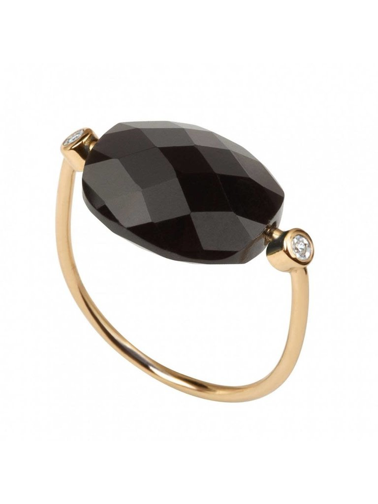 Morganne Bello Morganne Bello Ring Hämatit Stein Diamant Größe 52