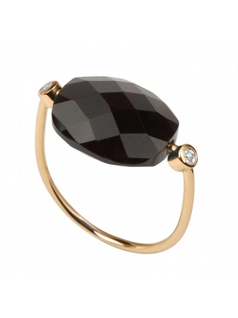 Morganne Bello Morganne Bello ring hematite stone diamond size 52
