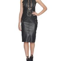 Yirga leren jurk met open details zwart
