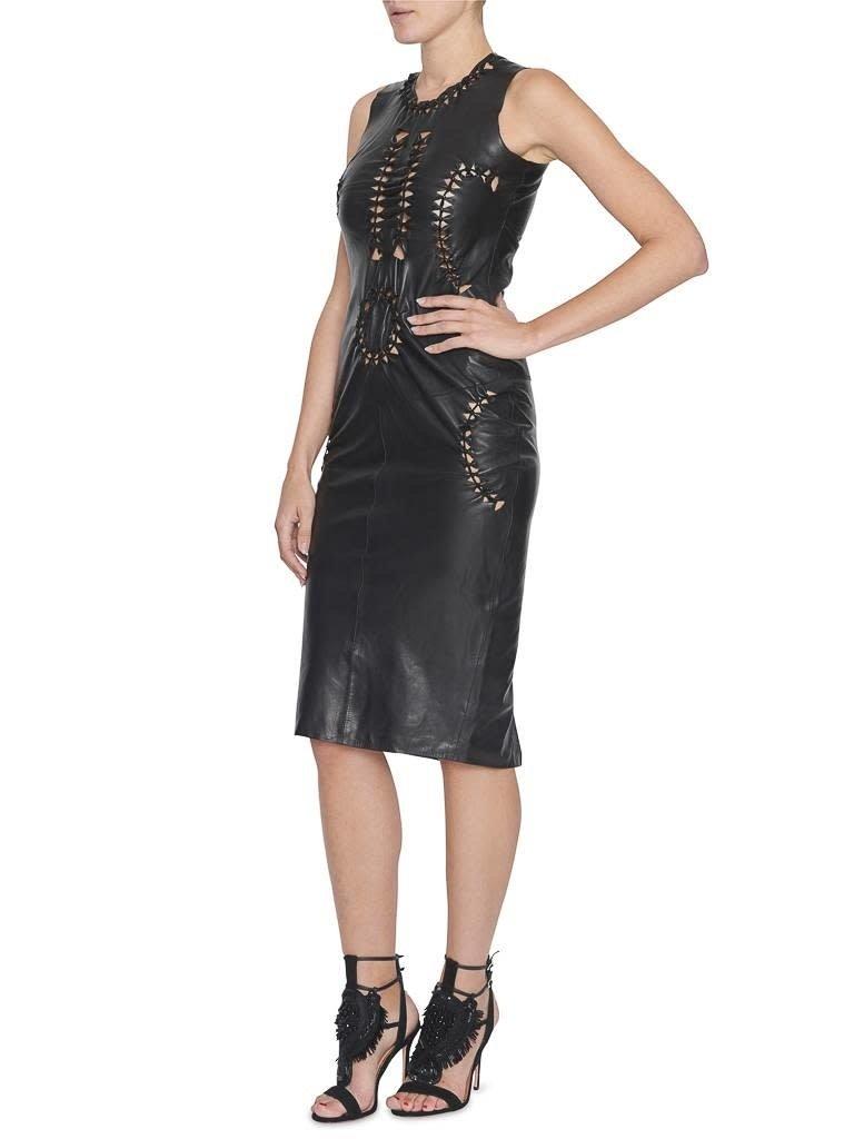 Yirga Yirga leather dress with open details black