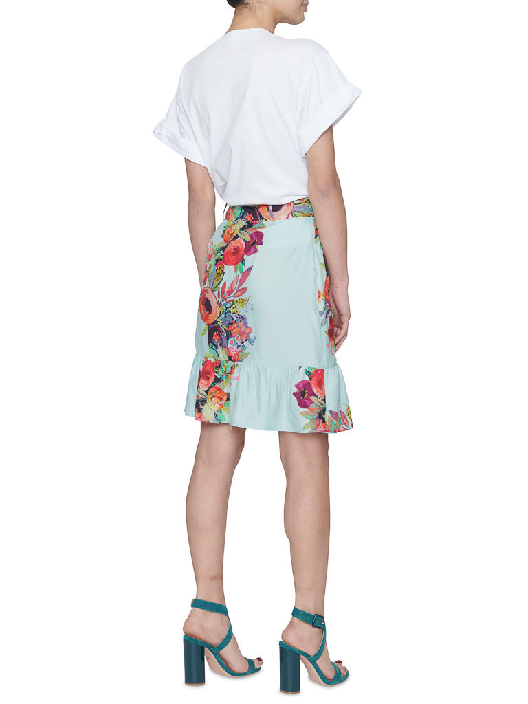 Valentine Gauthier Valentine Gauthier Carmen skirt with volant and flowers print blue
