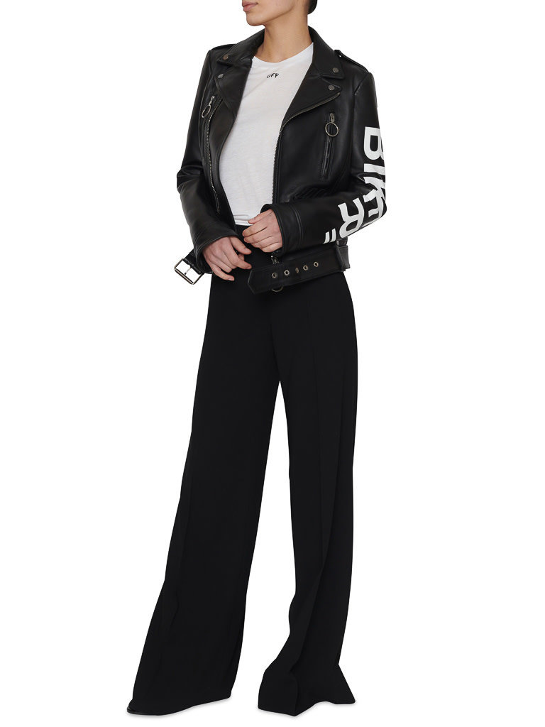 Off-White OFF-WHITE biker jacket with letters black and white
