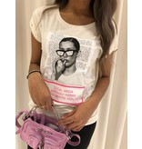 VLVT VLVT Social Media Harms T-Shirt neonpink off white